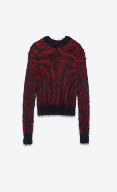 SAINT LAURENT Knitwear Tops U Crewneck Grunge Sweater in Red and Black Polyamide and Wool a_V4