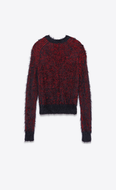 SAINT LAURENT Knitwear Tops U Crewneck Grunge Sweater in Red and Black Polyamide and Wool b_V4