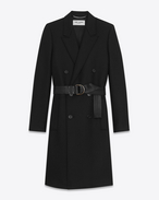 SAINT LAURENT Coats U Double-Breasted Belted Coat in Black Virgin Wool f