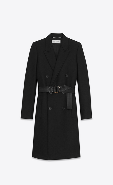SAINT LAURENT Coats Man Double-Breasted Belted Coat in Black Virgin Wool a_V4
