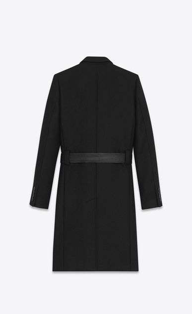 SAINT LAURENT Coats Man Double-Breasted Belted Coat in Black Virgin Wool b_V4