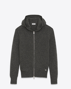 SAINT LAURENT Knitwear Tops U Hoodie Sweater in Anthracite Grey Camel Hair f