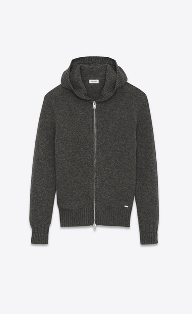 SAINT LAURENT Knitwear Tops Man Hoodie Sweater in Anthracite Grey Camel Hair a_V4