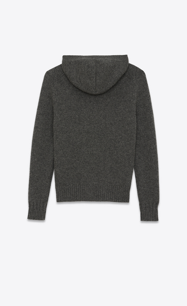 SAINT LAURENT Knitwear Tops Man Hoodie Sweater in Anthracite Grey Camel Hair b_V4