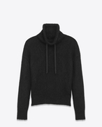 SAINT LAURENT Knitwear Tops U Funnel Neck Sweater in Black Wool and Mohair f