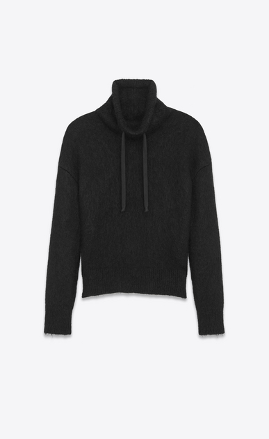 SAINT LAURENT Knitwear Tops U Funnel Neck Sweater in Black Wool and Mohair a_V4