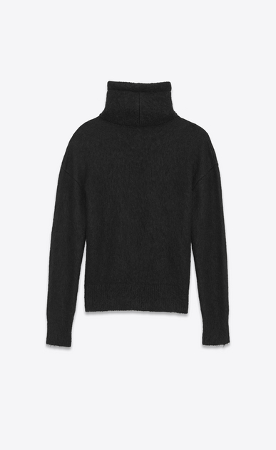 SAINT LAURENT Knitwear Tops U Funnel Neck Sweater in Black Wool and Mohair b_V4