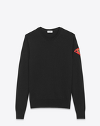 "SAINT LAURENT Stricktops U Crewneck ""S.L LOVE"" Patch Sweater in Black Wool f"