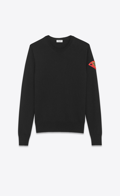 "SAINT LAURENT Knitwear Tops Man Crewneck ""S.L LOVE"" Patch Sweater in Black Wool a_V4"