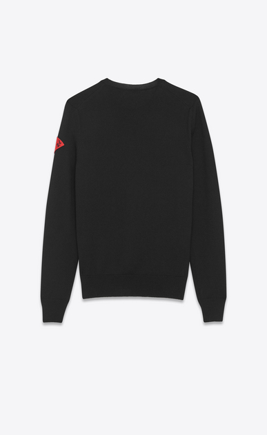 "SAINT LAURENT Knitwear Tops Man Crewneck ""S.L LOVE"" Patch Sweater in Black Wool b_V4"