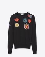 SAINT LAURENT Knitwear Tops U Crewneck Multi-Patch Sweater in Black Wool f