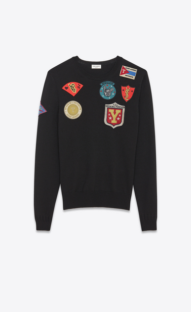 SAINT LAURENT Knitwear Tops U Crewneck Multi-Patch Sweater in Black Wool v4