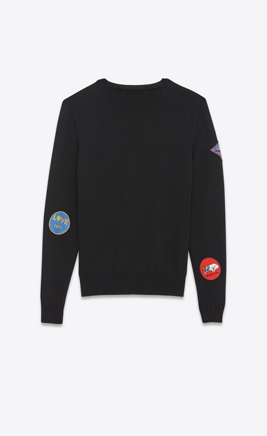 SAINT LAURENT Knitwear Tops Man Crewneck Multi-Patch Sweater in Black Wool b_V4