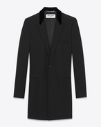 SAINT LAURENT Coats U Velvet Collar Chesterfield Coat in Black Grain de Poudre f