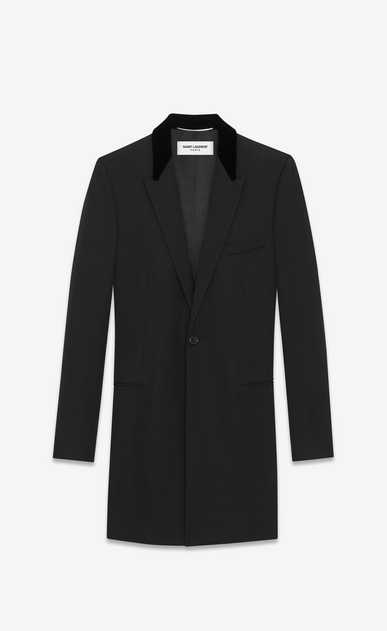 SAINT LAURENT Coats U Velvet Collar Chesterfield Coat in Black Grain de Poudre a_V4