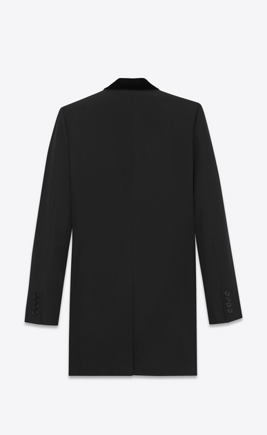 SAINT LAURENT Coats U Velvet Collar Chesterfield Coat in Black Grain de Poudre b_V4