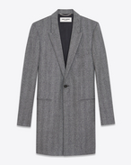 SAINT LAURENT Mäntel U Chesterfield Peak Lapel Coat in Grey Chevron Woven Wool f