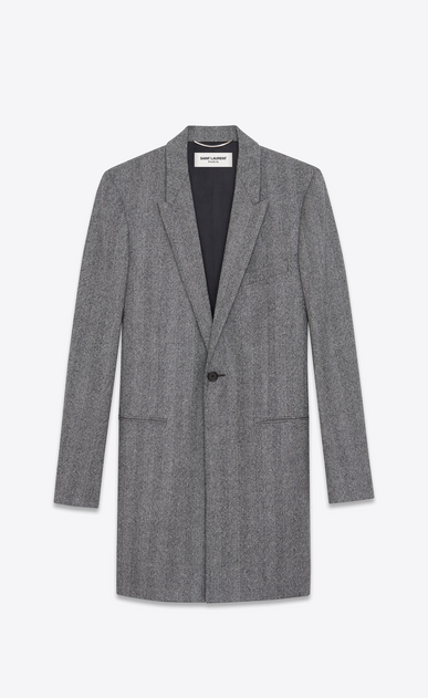 SAINT LAURENT Coats U Chesterfield Peak Lapel Coat in Grey Chevron Woven Wool a_V4