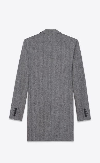 SAINT LAURENT Coats U Chesterfield Peak Lapel Coat in Grey Chevron Woven Wool b_V4