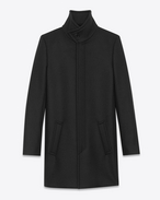 Stand-up Collar Coat in Black Virgin Wool