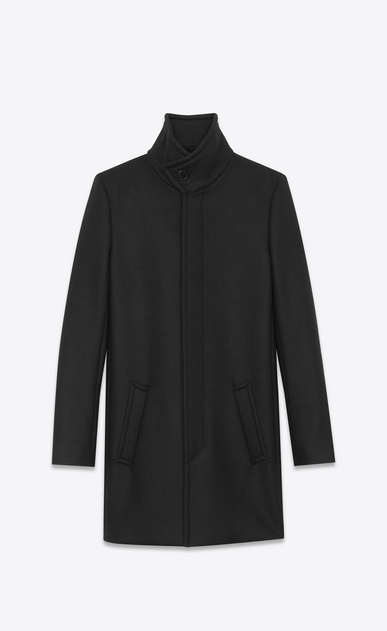SAINT LAURENT Coats U Stand-up Collar Coat in Black Virgin Wool a_V4