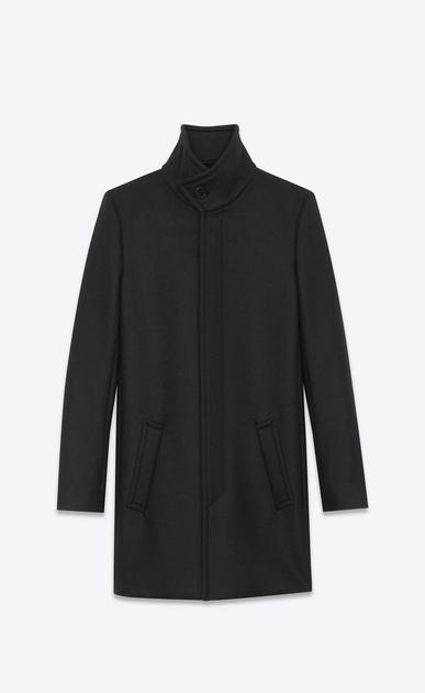 SAINT LAURENT Coats U Stand-up Collar Coat in Black Virgin Wool v4
