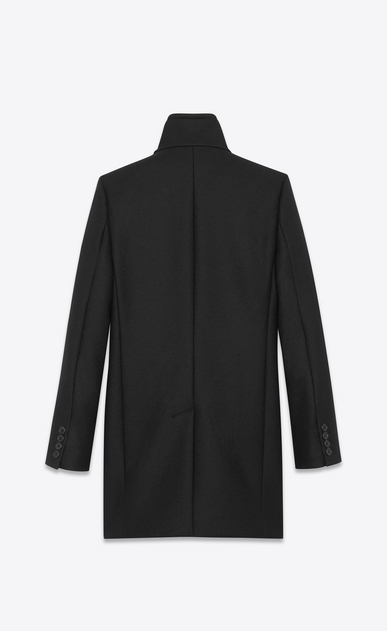 SAINT LAURENT Coats U Stand-up Collar Coat in Black Virgin Wool b_V4