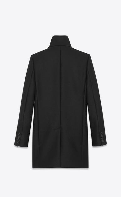 SAINT LAURENT Mäntel U Mantel aus schwarzer Schurwolle mit Stehkragen b_V4