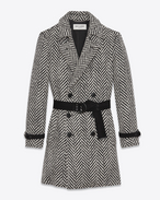 SAINT LAURENT Coats U Double-Breasted Belted Trench Coat in Black and White Chevron Woven Virgin Wool f