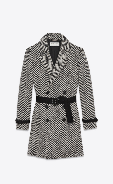 SAINT LAURENT Coats Man Double-Breasted Belted Trench Coat in Black and White Chevron Woven Virgin Wool a_V4