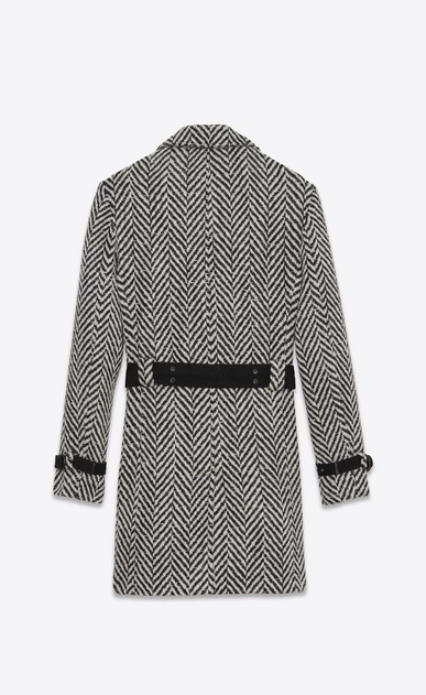 SAINT LAURENT Coats Man Double-Breasted Belted Trench Coat in Black and White Chevron Woven Virgin Wool b_V4