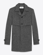 SAINT LAURENT Coats U Gun Flap Coat in Grey and Black Chevron Woven Virgin Wool f