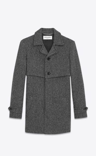 SAINT LAURENT Coats U Gun Flap Coat in Grey and Black Chevron Woven Virgin Wool a_V4
