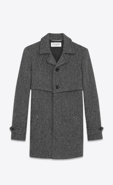 SAINT LAURENT Mäntel U Mantel aus grauer und schwarzer Schurwolle mit Fischgrätenmuster mit Sturmsattel a_V4
