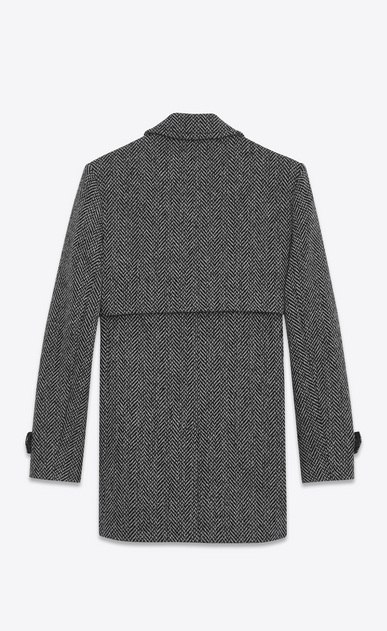 SAINT LAURENT Coats U Gun Flap Coat in Grey and Black Chevron Woven Virgin Wool b_V4
