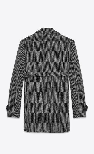 SAINT LAURENT Mäntel U Mantel aus grauer und schwarzer Schurwolle mit Fischgrätenmuster mit Sturmsattel b_V4