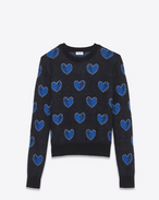 SAINT LAURENT Top Tricot U Felpa Heart and Lightening Bolt in jacquard mohair nera, blu e argento f