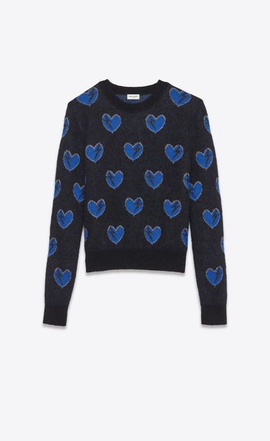 SAINT LAURENT Knitwear Tops U Heart and Lightening Bolt Sweater in Black, Blue and Silver Mohair Jacquard a_V4