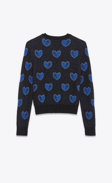 SAINT LAURENT Knitwear Tops U Heart and Lightening Bolt Sweater in Black, Blue and Silver Mohair Jacquard b_V4