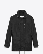 SAINT LAURENT Casual Jackets U Parka with Stowaway Hood in Black Waxed Cotton f