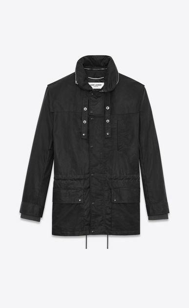 SAINT LAURENT Casual Jackets U Parka with Stowaway Hood in Black Waxed Cotton a_V4