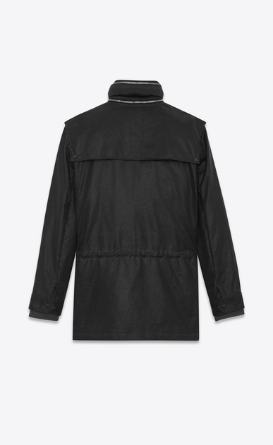 SAINT LAURENT Casual Jackets U Parka with Stowaway Hood in Black Waxed Cotton b_V4