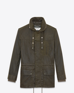 SAINT LAURENT Coats U Parka with Stowaway Hood in Military Green Waxed Cotton f