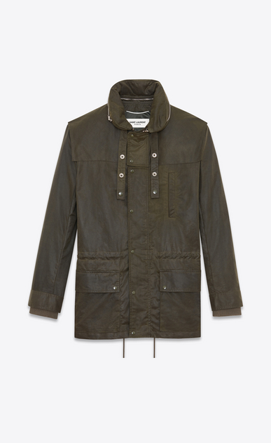 SAINT LAURENT Casual Jackets U Parka with Stowaway Hood in Military Green Waxed Cotton a_V4