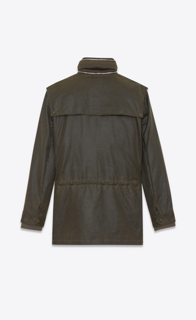 SAINT LAURENT Casual Jackets U Parka with Stowaway Hood in Military Green Waxed Cotton b_V4