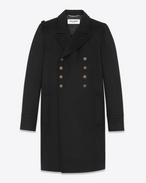 SAINT LAURENT Coats U CABAN Officer Coat in Black Wool f