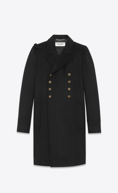 SAINT LAURENT Coats U CABAN Officer Coat in Black Wool a_V4