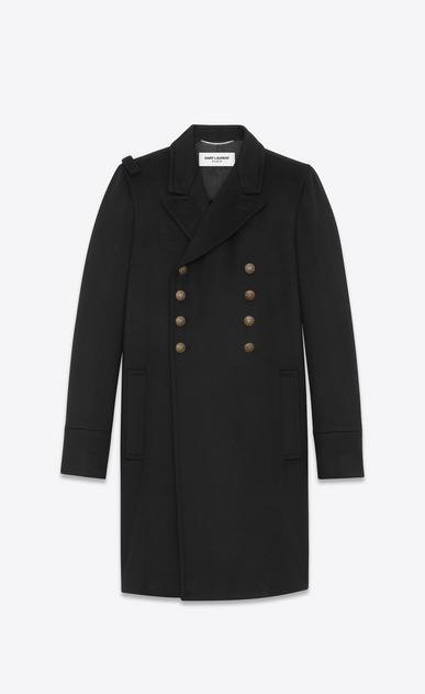 SAINT LAURENT Coats U CABAN Officer Coat in Black Wool v4