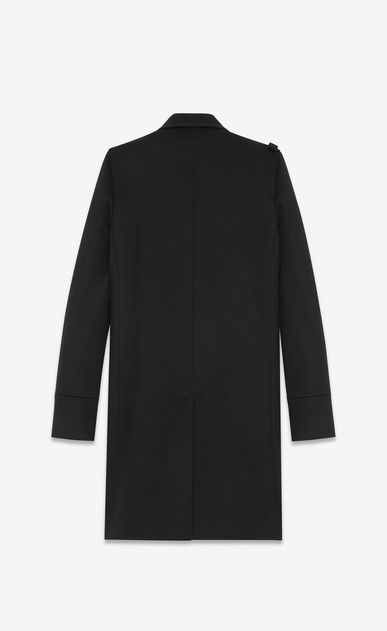 SAINT LAURENT Coats U CABAN Officer Coat in Black Wool b_V4