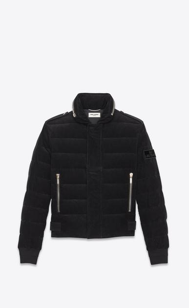 SAINT LAURENT Coats U Down Jacket in Black Corduroy a_V4